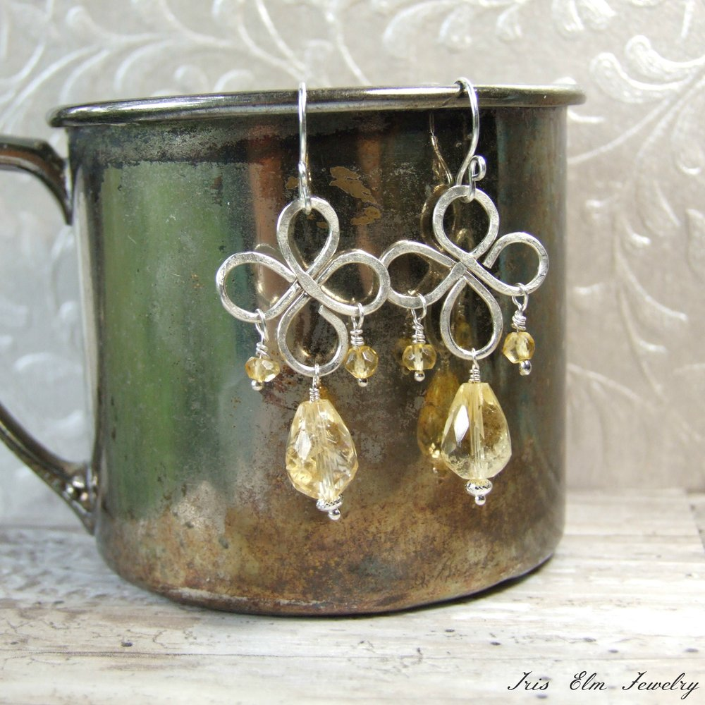 Faceted Citrine Sterling Silver Chandelier Earrings