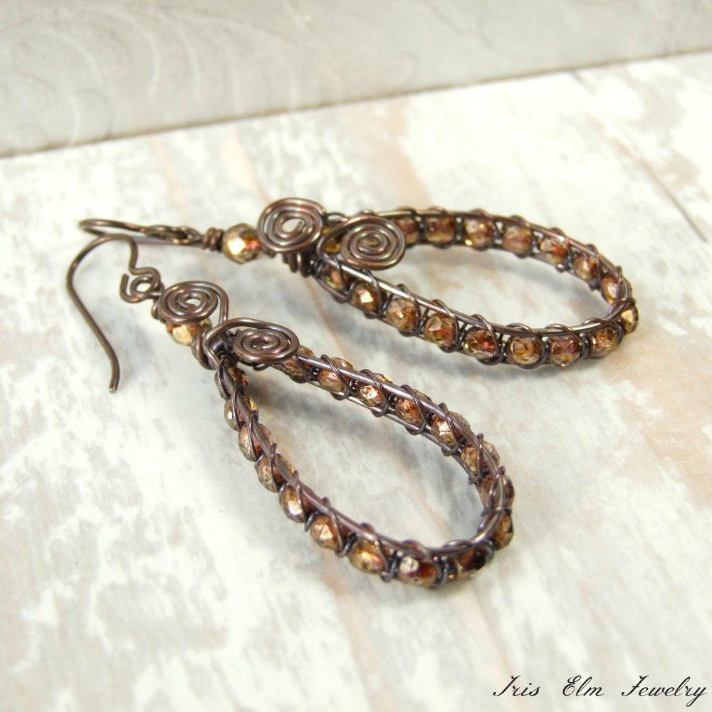 Brown Czech Glass Wire Wrapped Antiqued Copper Teardrop Earrings