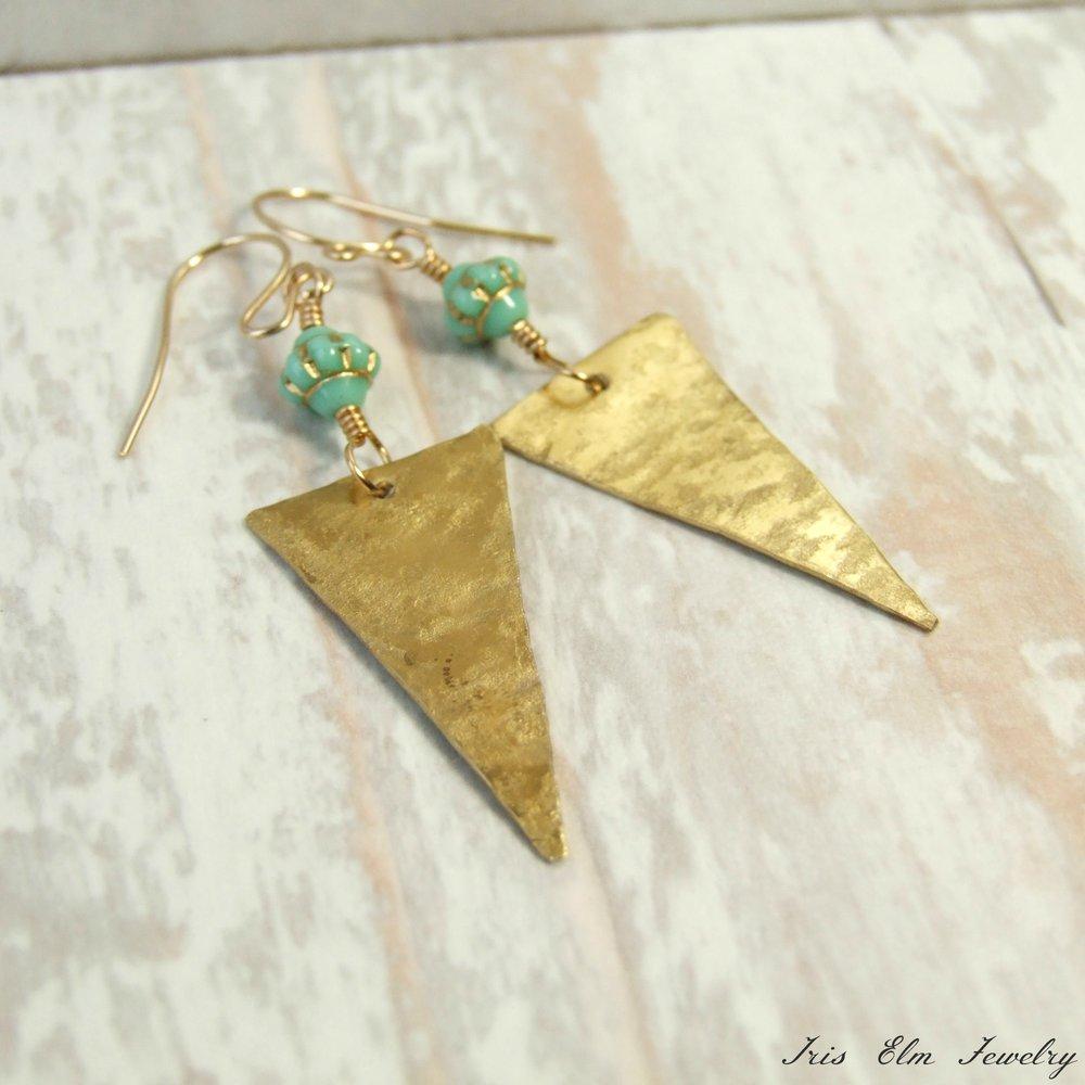 Gold Brass & Mint Green Glass Triangle Metalwork Earrings
