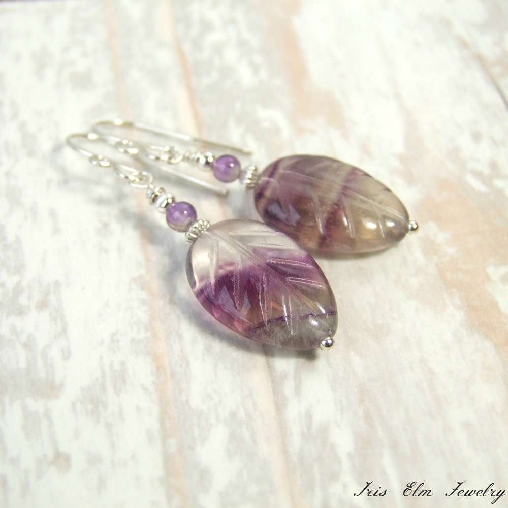 Sterling Silver Purple Amethyst & Rainbow Fluorite Leaf Earrings