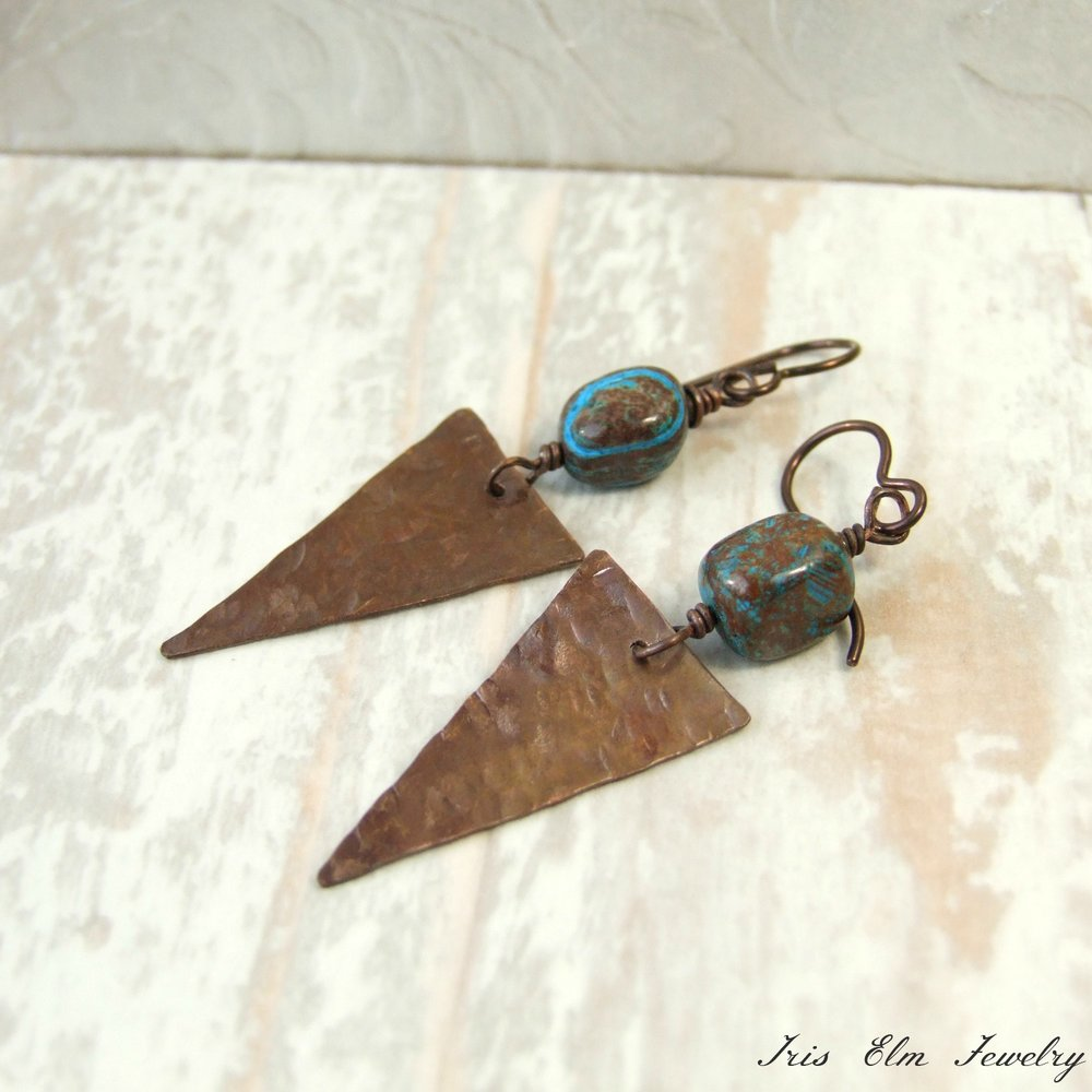 Rustic Blue Sky Jasper Hammered Copper Triangle Earrings
