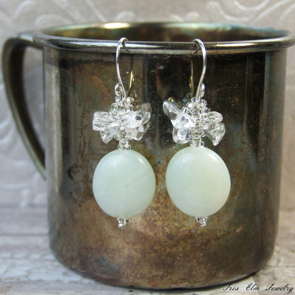 Pale Seafoam Green New Jade & Crystal Earrings