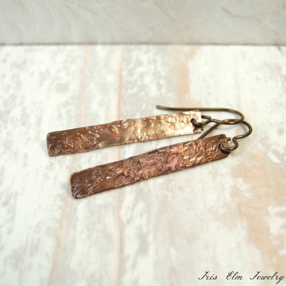 Simple Rustic Antiqued Copper Bar Hammered Metal Earrings