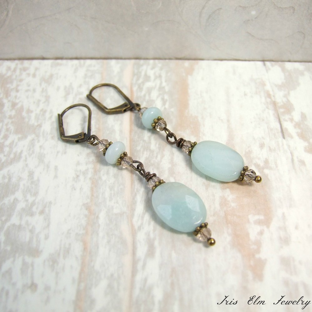 Amazonite Vintage Style Dangle Earrings
