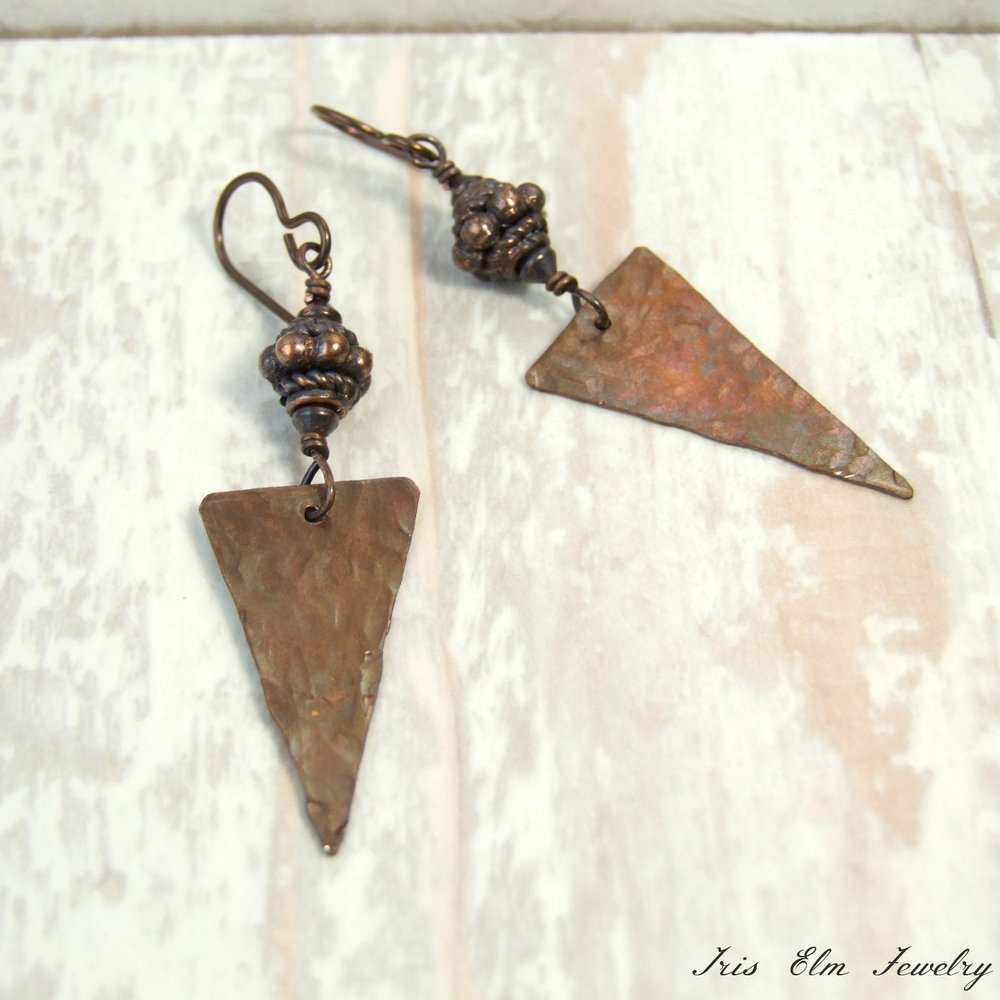 Handcrafted Boho Triangle Rustic Copper Dangle Earrings