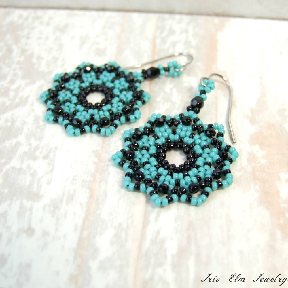 Black & Blue Glass Seed Bead Woven Mandala Boho Earrings