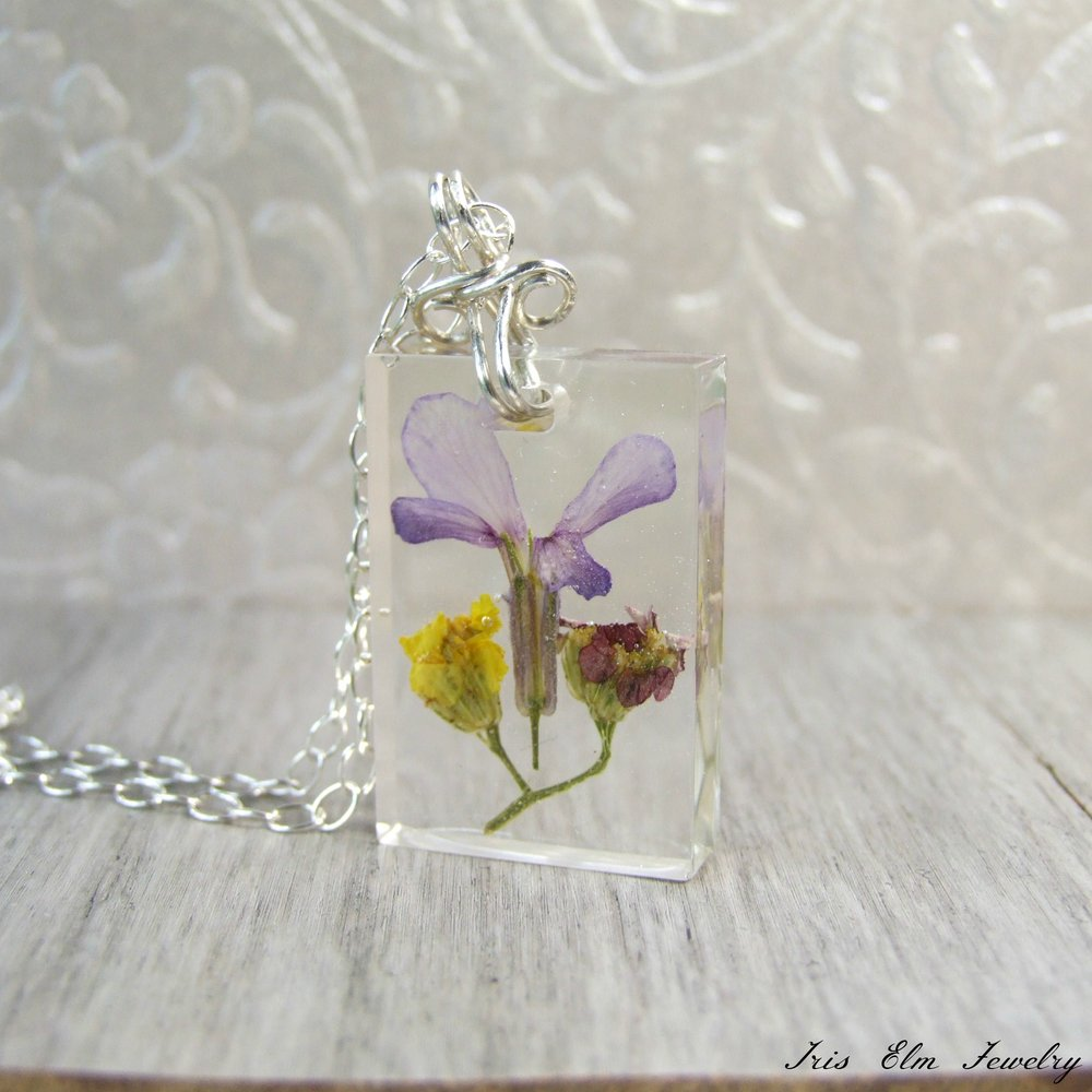 Sterling Silver Resin Rectangular Wildflower Necklace