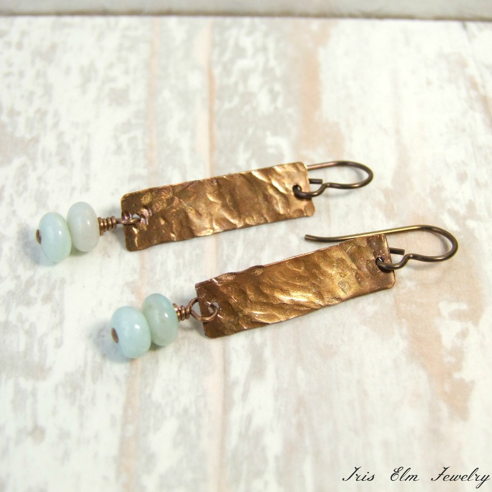 Boho Hammered Copper Amazonite Dangle Earrings