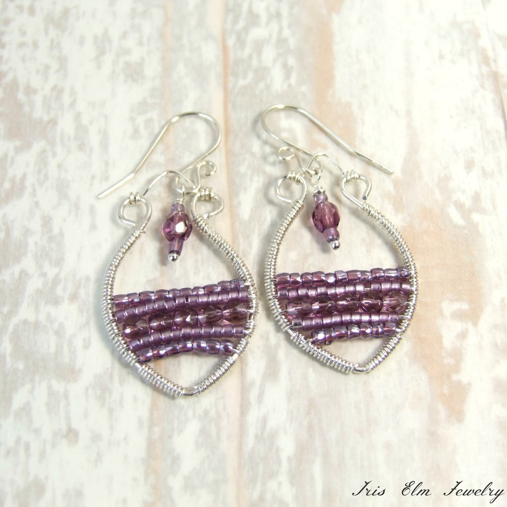 Bohemian Purple Glass Sterling Silver Wire Wrapped Earrings