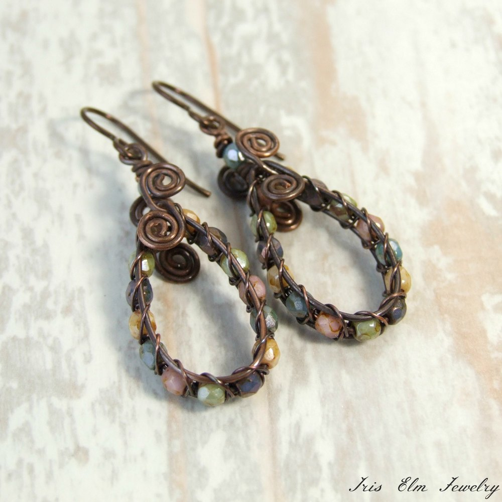 Pretty Glass Wire Woven Copper Teardrop Earrings