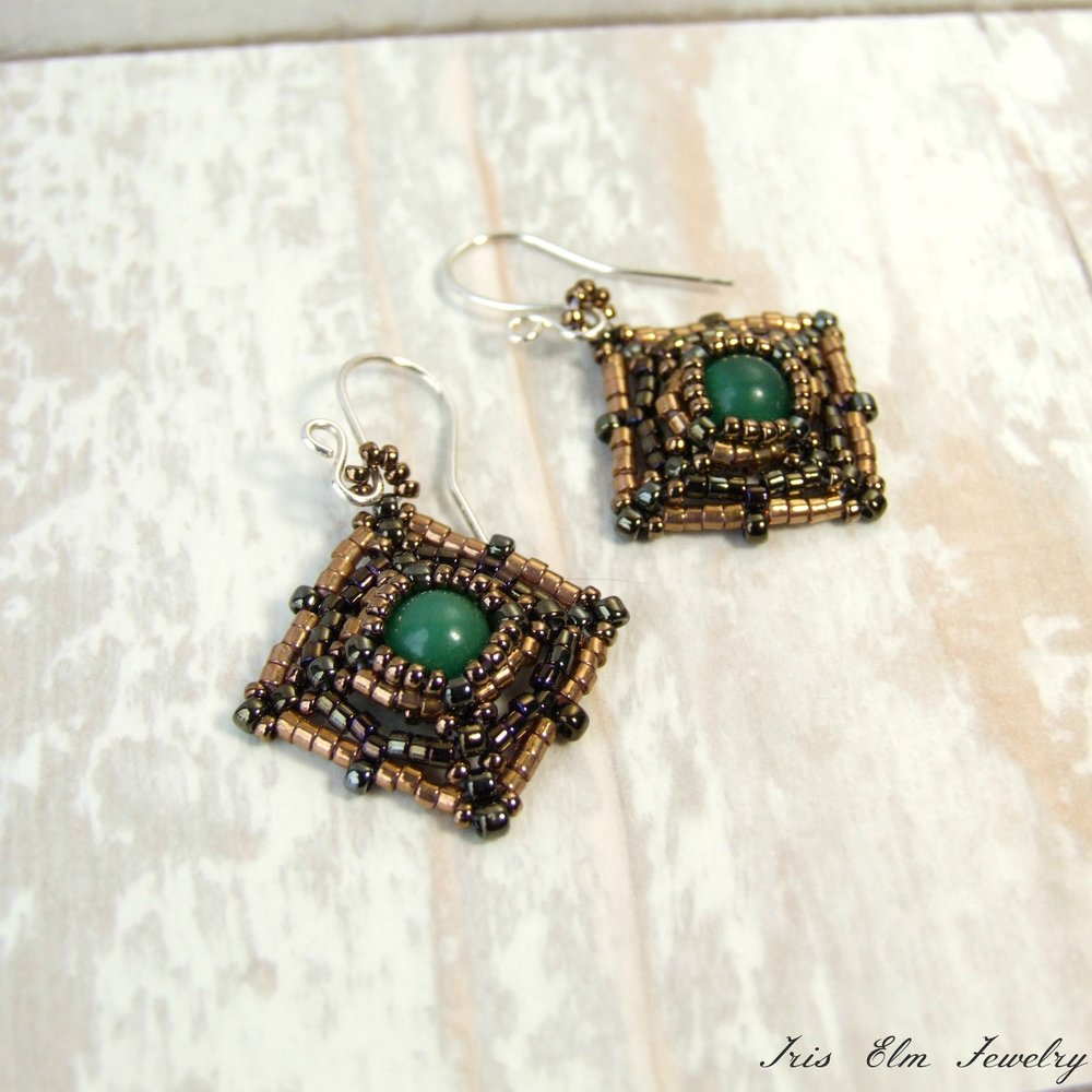 Green Aventurine Beadwoven Natural Stone Earrings