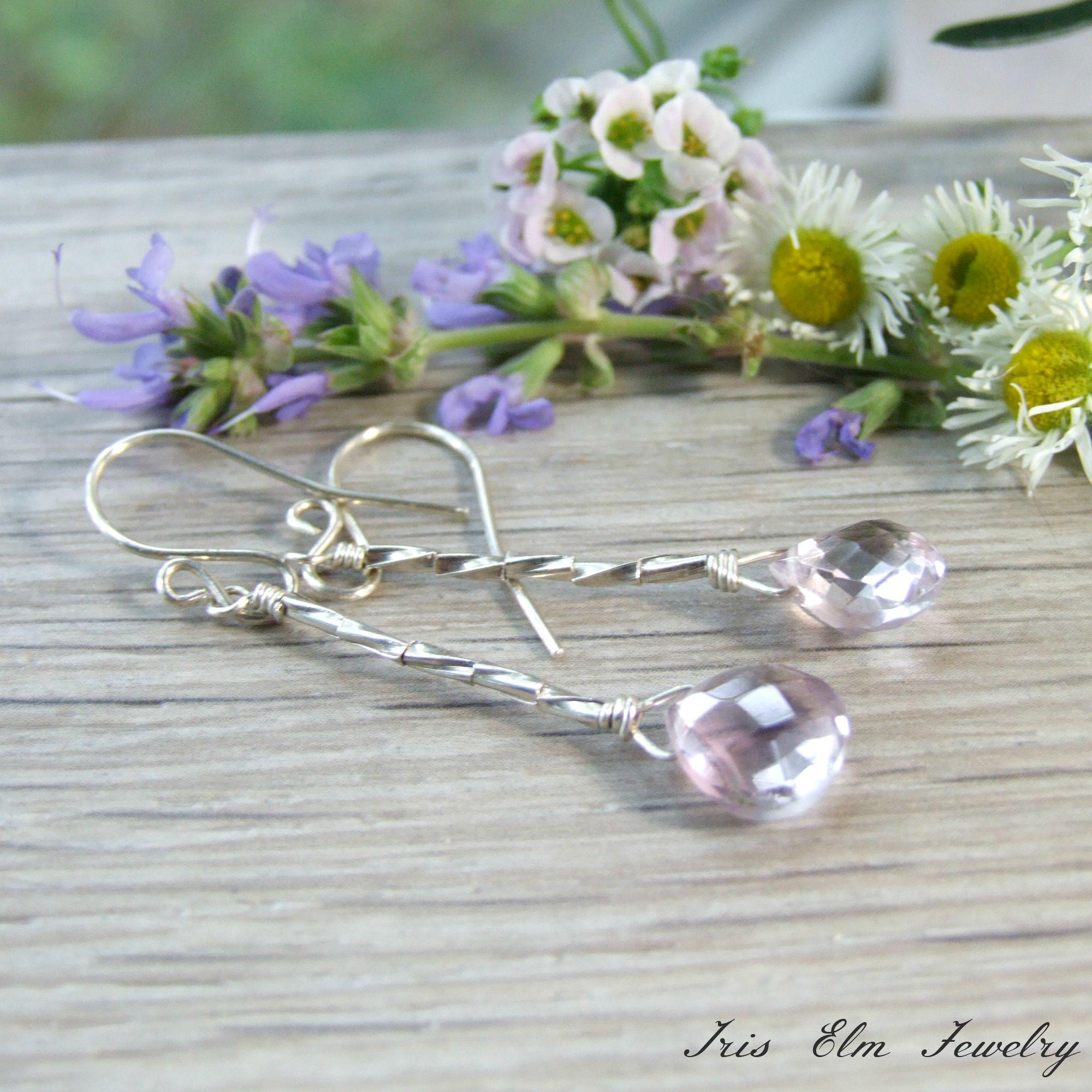 1ecf99eeb2d33 Pink Amethyst Sterling Earrings - Iris Elm Jewelry | Unique Artisan  Handmade Bohemian and Vintage Style Earrings, Bracelets, and Necklaces