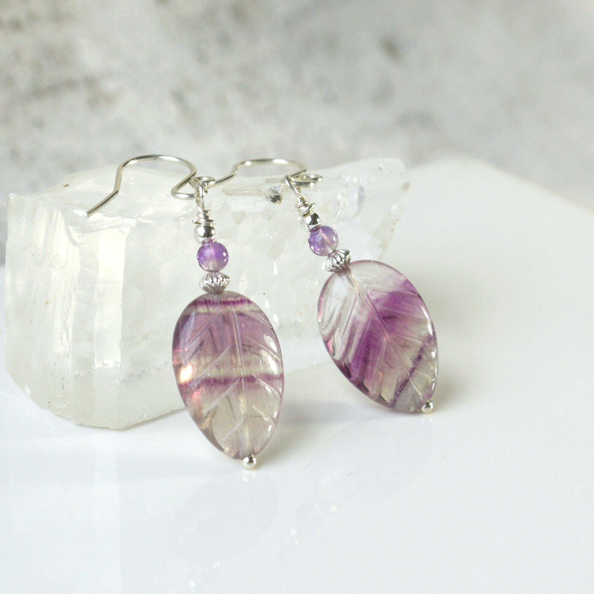 ad4307407778d Sterling Silver Purple Amethyst & Rainbow Fluorite Leaf Earrings - Iris Elm  Jewelry | Unique Artisan Handmade Bohemian and Vintage Style Earrings, ...