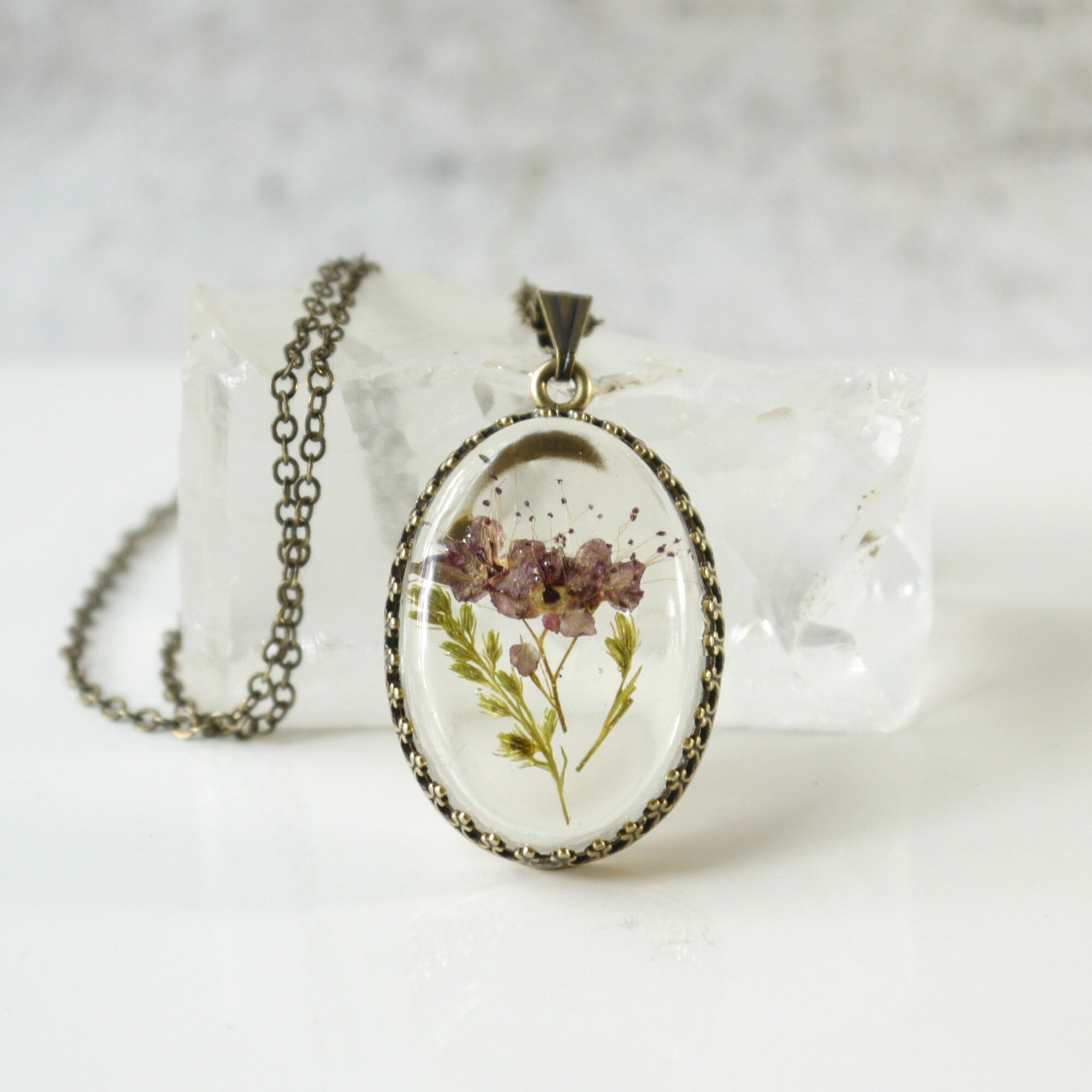 Small Mauve Real Pressed Flower Necklace Iris Elm Jewelry