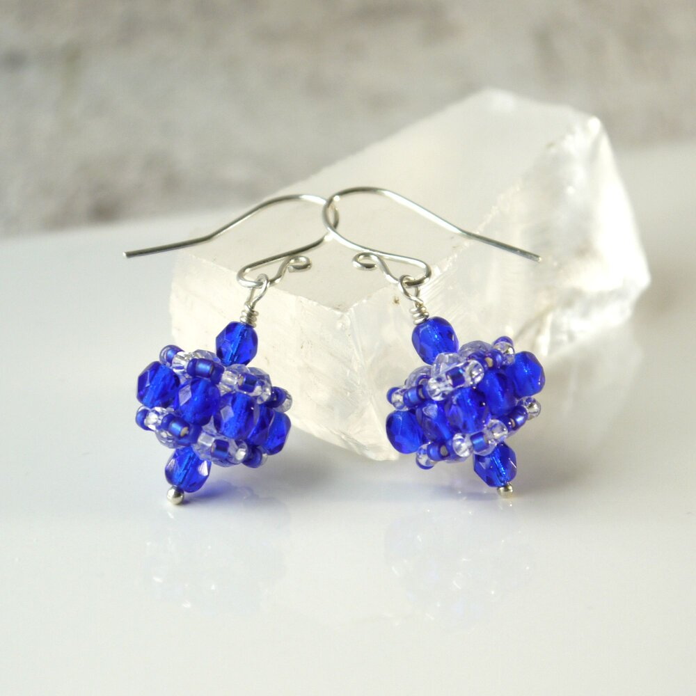 cobolt fancy lampwork earrings glass buds czech rose blue cobalt