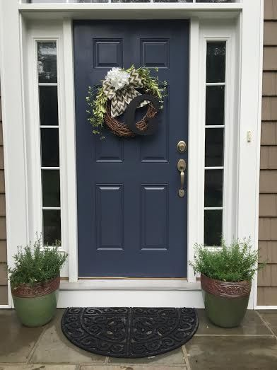 French Blue - BM #HC-155 Newburyport BlueAlways elegant and chic. A safe colour! Looks really good with a crispy white trim. Neutral enough to work with any exterior finish.