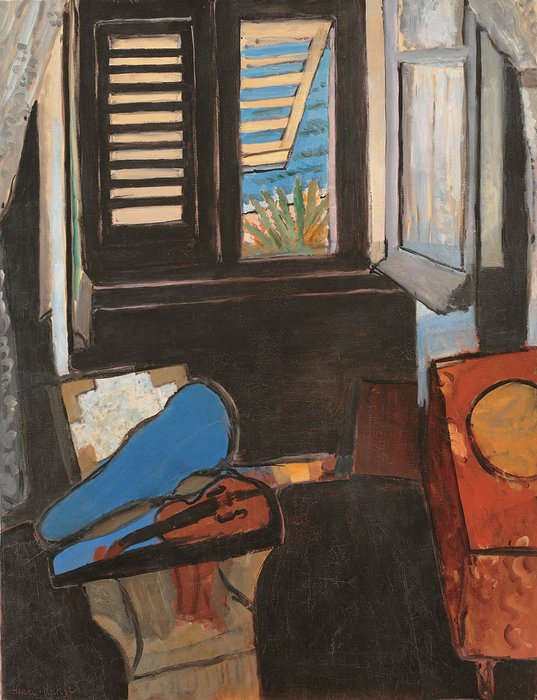 "Interior With Violin by Henri Matisse (1918). Oil on Canvass. 36""x46"" +/-. Wouldn't this piece make a great addition to an foyer or a dining room? A copy that is, of course…."