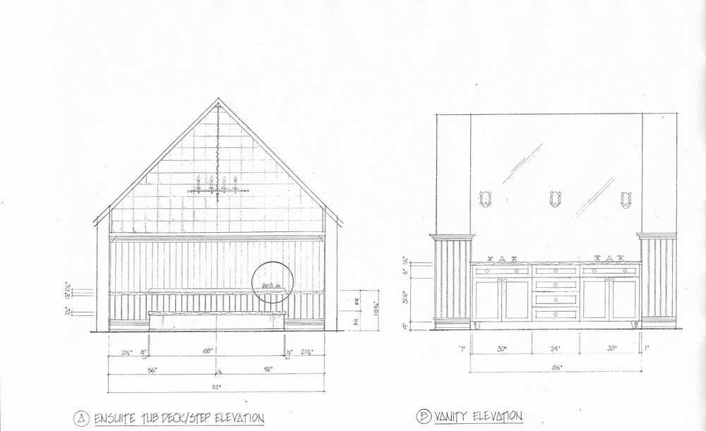 I found this old drawing showing the new tub location and wall application. It gives an idea of what I was planning. The tub's new location is in a dormer-like section of the master ensuite. Removing the glass block in the upper section of the exterior wall and replacing it with a large window was not part of the design program at that time.