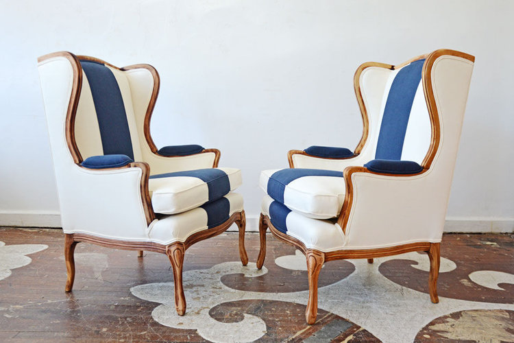 Two smaller scale wingbacks upholstered like these would make great host and hostess chairs at a dining table. Source: Chairloom Upholstery (USA)