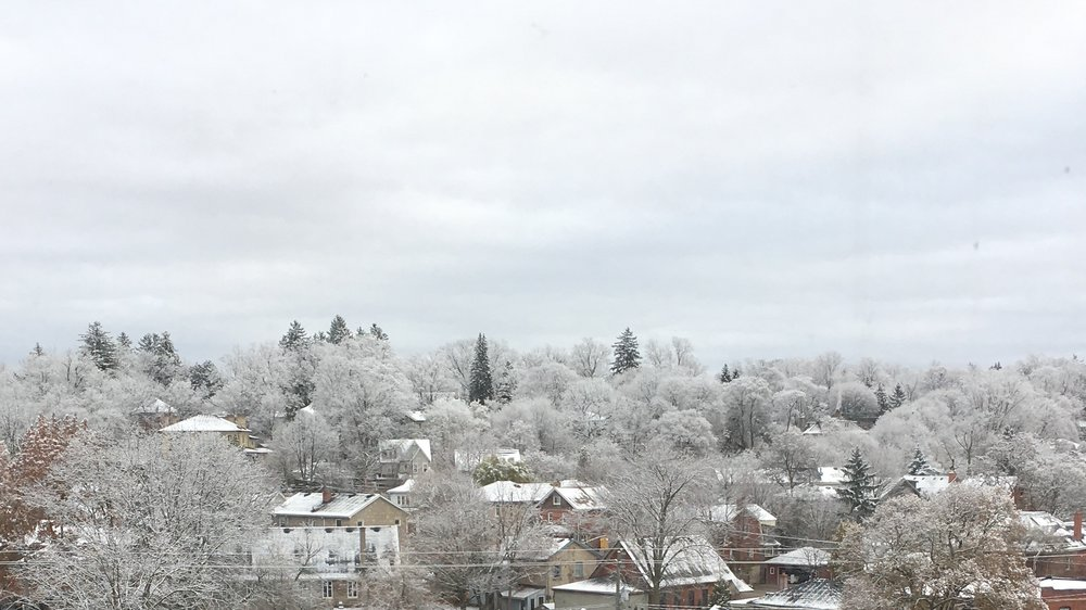 This is what I woke up to this morning. When I squint my eyes I can almost imagine that the hillside and sky blend together. That they become one in a wintry landscape. That they form the backdrop to a fantasy like Games of Thrones.