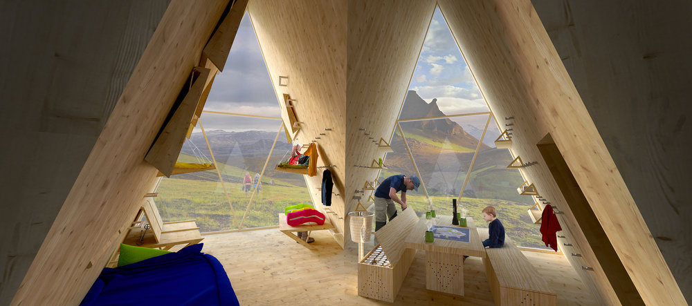 Skyli Interiors - The left interior triangle shows a sleeping section. The right one shows an eating area.