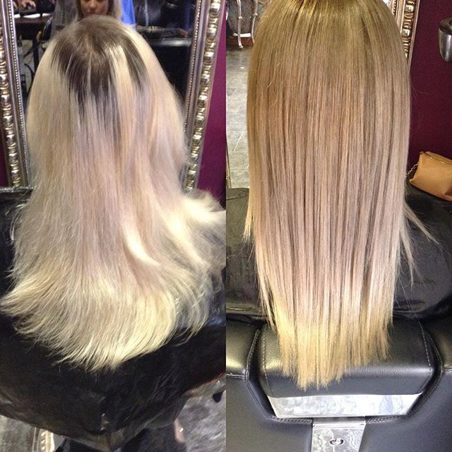 From bright blonde to more natural roots and balayage ash ends. Much more softer look 😍 colour & cut by Emily #brownes #hair #sheffield