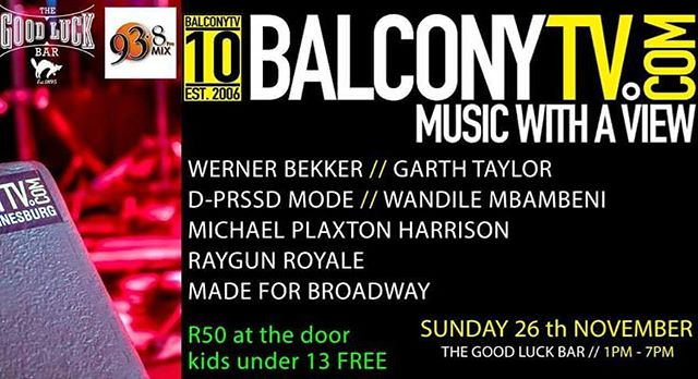 Come jol with us on this beautiful #SundayFunday from 13:00 with @balconytvsa @mix938fm and all these cool artist.