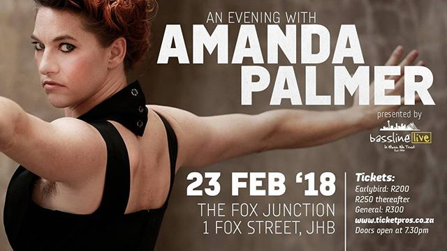 "We're very excited for ""An Evening With @amandapalmer live at @1foxprecinct."" Early Bird Tickets available NOW from R200! Check out the link in our bio for more."