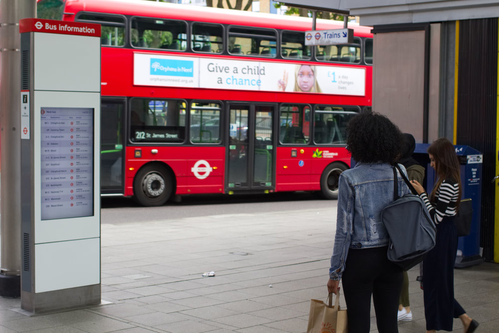 An example Bus Station Digital Sign for Transport for London