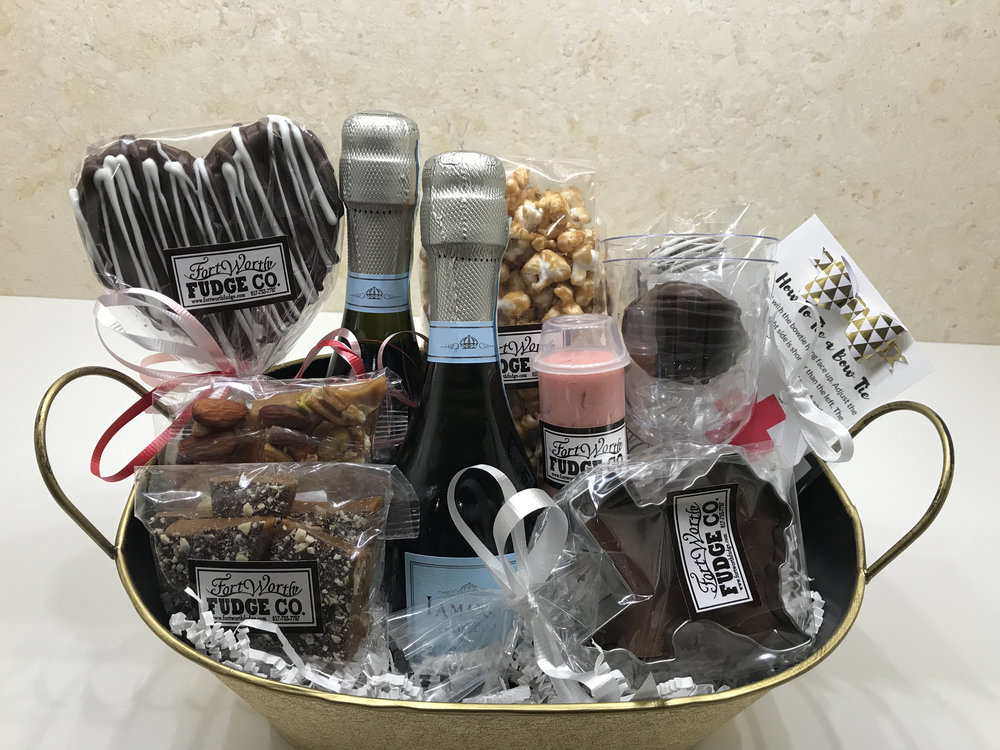 WELCOME BASKET   Your out of town guest will be delighted to receive this beautiful gift basket full of wonderful treats and libations!