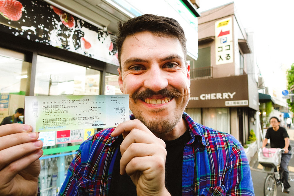 Matt is super happy that he got the ticket for a Japanese baseball game