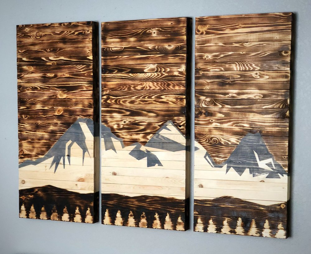3 panel wood art - Rustic wooden triptych