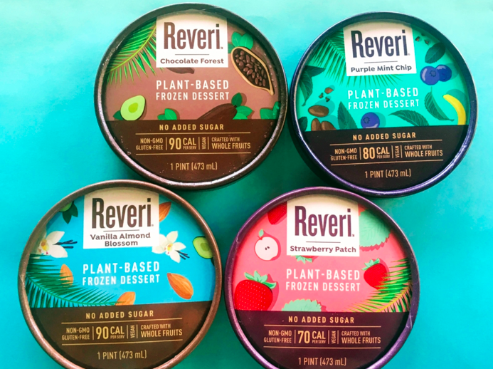 everi 's   Purple Mint Chip   is a twist on classic mint chip ice cream, and is a blend of blueberries, nutritious seeds, organic cocoa nibs, and peppermint. Their   Vanilla Almond Blossom   is rich and delicious, combining a mixture of almonds, almond butter, and creamy rich vanilla.  Reveri also has flavors such as Chocolate Forest and Strawberry Patch. Each ranges from 70 calories to 90 calories per serving.   Other healthy features:   No added sugar  No sweeteners  No dairy  No added fats  No wheat  No corn  No soy   Where to Find:   Reveri is located in 12 stores in the Southern California area. You can also find it on  online here .