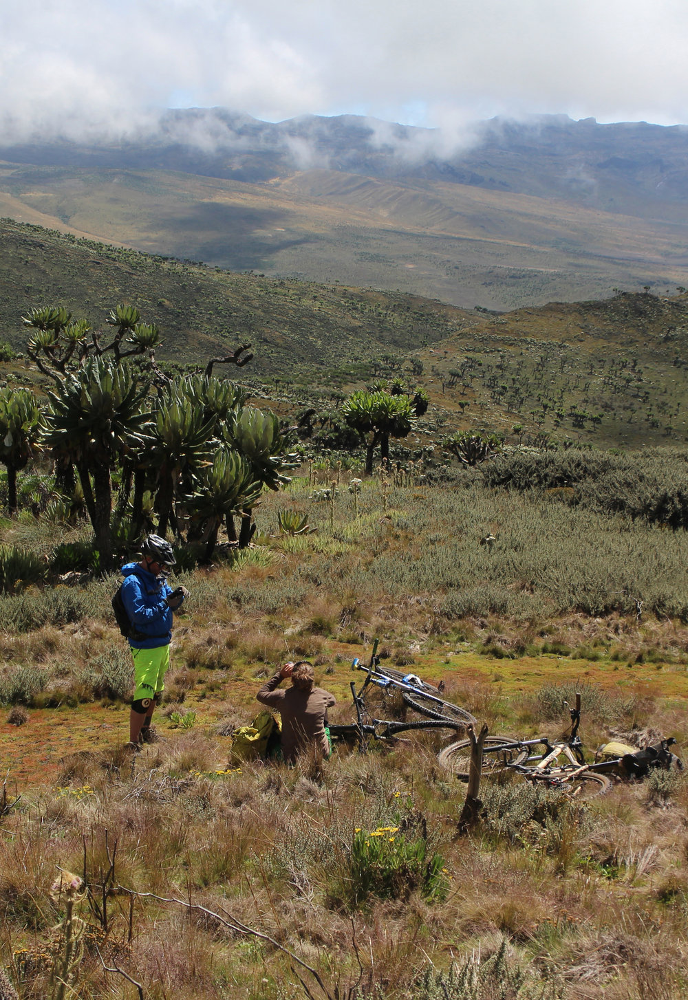 Mt. Elgon MTB expedition. - Clark Expeditions has pioneered MTB expeditions on Mt. Elgon. Having tested many different route options we now have the knowledge to take anyone with a decent level of fitness and a positive attitude to the top and back with a bike! There are different routes and many different levels of technicality, from fast downhill descents to long gentle journeys across the mountain.Whichever way we tackle the mountain you are sure to fall in love with its beauty and charm and go away with lasting memories.Mt. Elgon is 4321m and an extinct volcano.  It is the largest freestanding volcanic base in the world.  It straddles Uganda and Kenya with the highest point - Wagagai being in Uganda.There are 4 main routes up and down the mountain. Sasa, Sipi, Piswa and Suam trails.  Sasa and Sipi are the most popular for hikers. The Sasa trail is the most direct route up the mountain so that also works for us on bikes, but the Sipi trail is very up and down and no good to ride. So we have utilised the less often hiked Piswa trail across the mountain.  The two main options on bikes are up and down the Sasa trail - 2 or 3 days - with more advanced riding and long, fast, more technical descents. Then up the Sasa and down the Piswa trail over 4 or 5 days with incredible riding and accessible to intermediate riders. The 4 day trip is physically tough with lots of hiking with your bike as well as riding, its certainly worth the effort though and is a true adventure!
