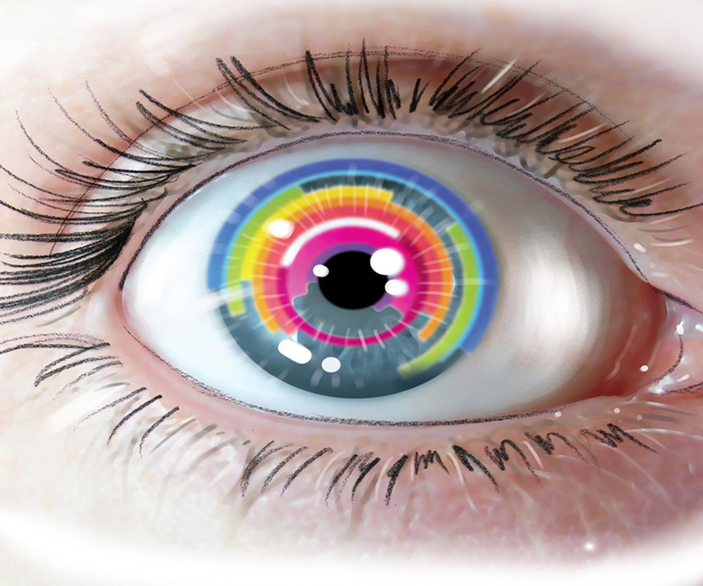 illustration of a bright colourful eye