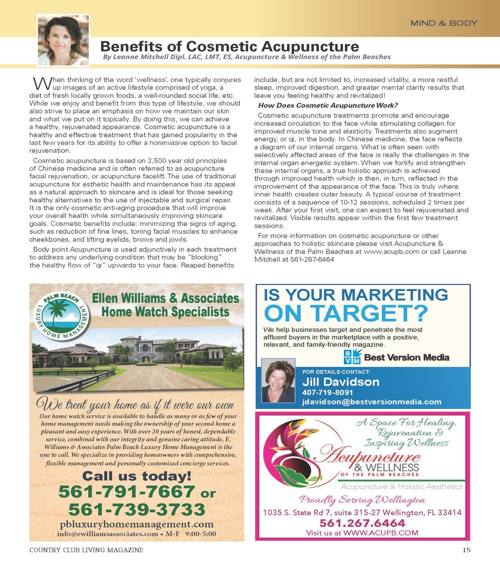 acupuncture and wellness of the palm beaches- benefits of cosmetic acupuncture