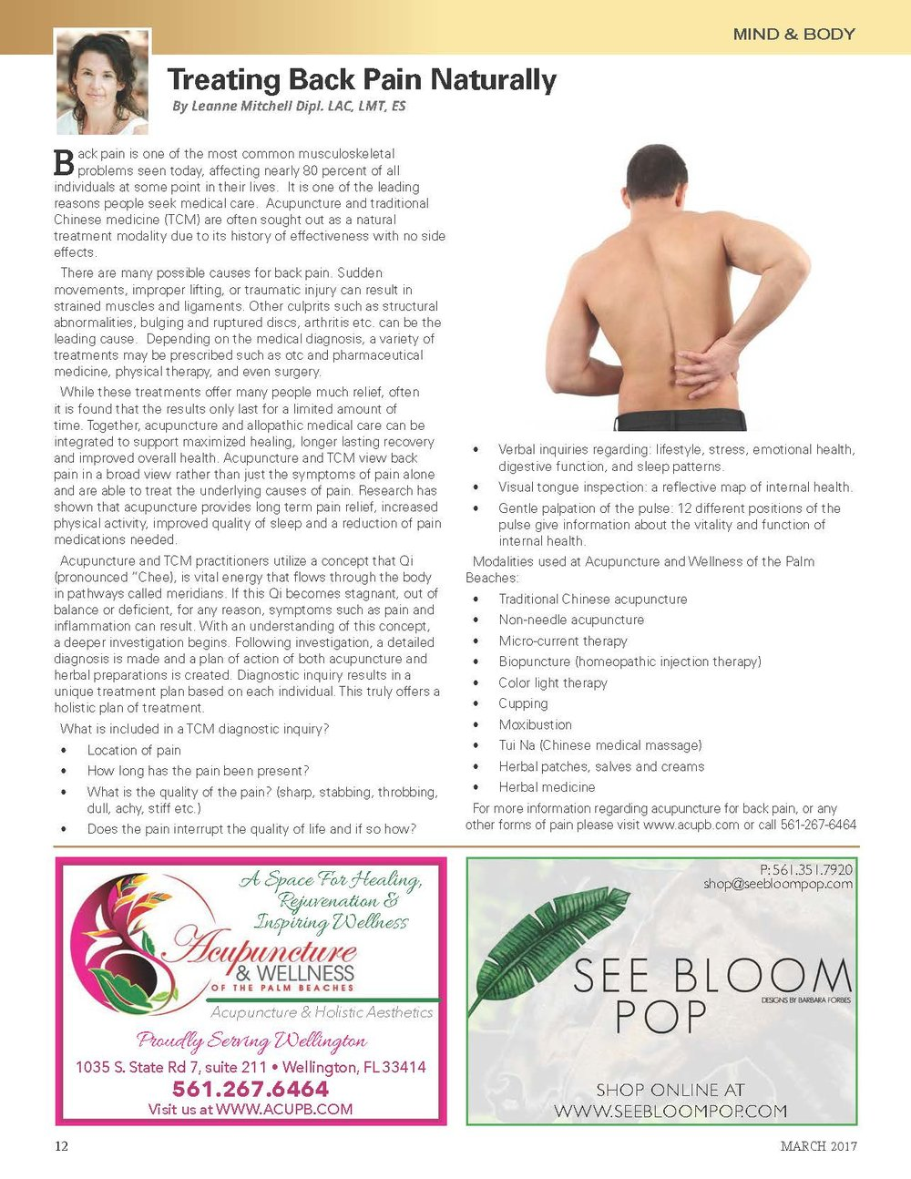 acupuncture and wellness of the palm beaches- Treating back pain naturally