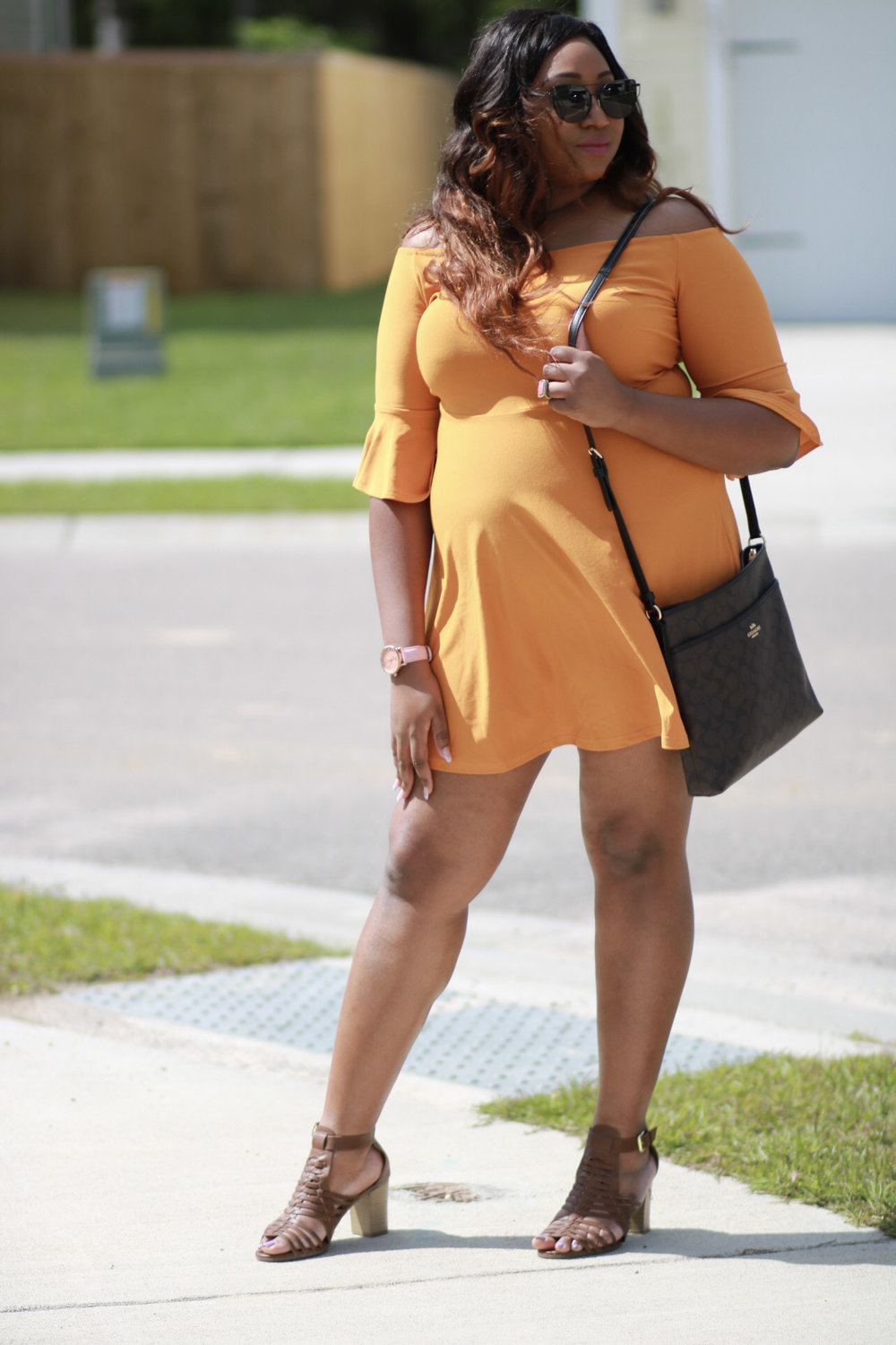My newest addition - this cute yellow/mustard color dress from BooHoo!    Boohoo  - You will have to wait a few weeks to get it but its worth it. Style: Plus Amy Off The Shoulder    Amazon  has a very similar option.   Sunglasses:  Amazon