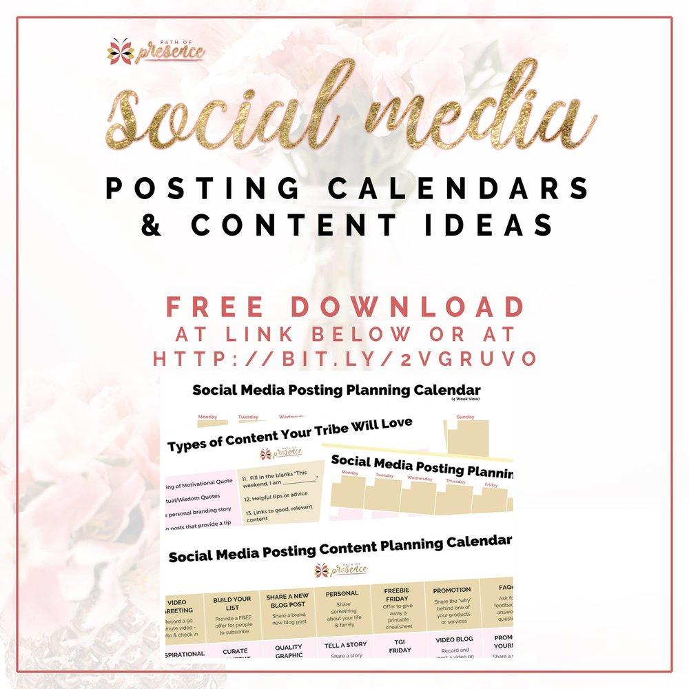 Social Media Posting Calendars and Content Ideas