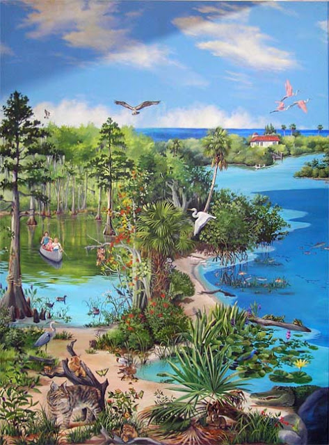 Panel #3 – Cypress swamp, mangrove swamp and lagoon