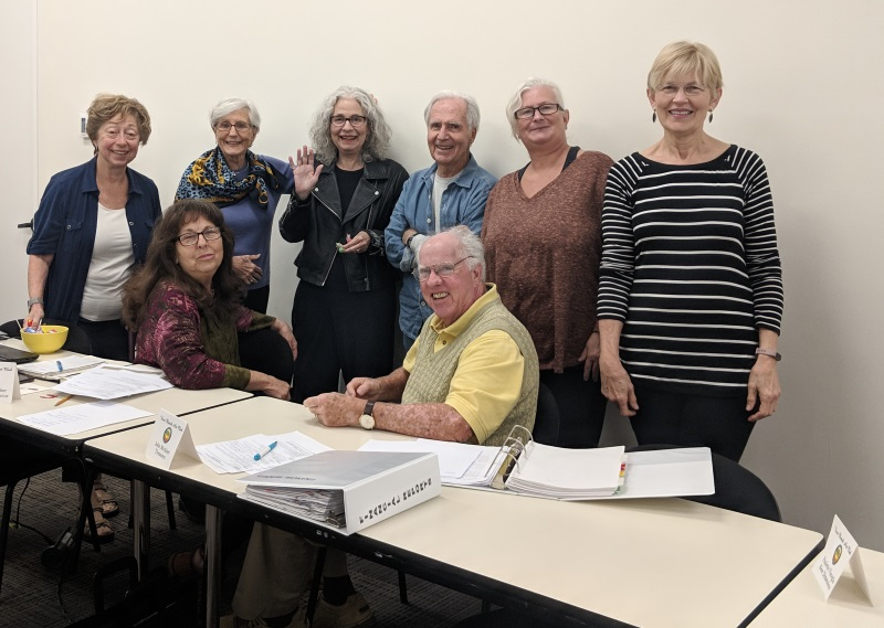 Seated in the front: Susan Gancher and John McAleer Standing: Rosemary Polsky-Newman, Sara Shankland, Dorothy Napp Schindel, George Paxton, Camy De Mario, Rae Marie Crisel
