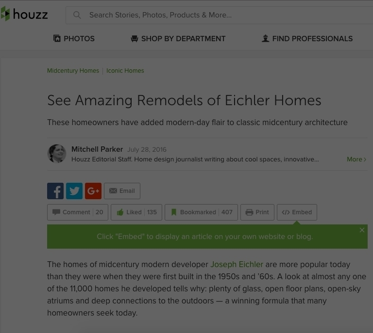 Houzz Feature - See Amazing Remodels of Eichler Homes