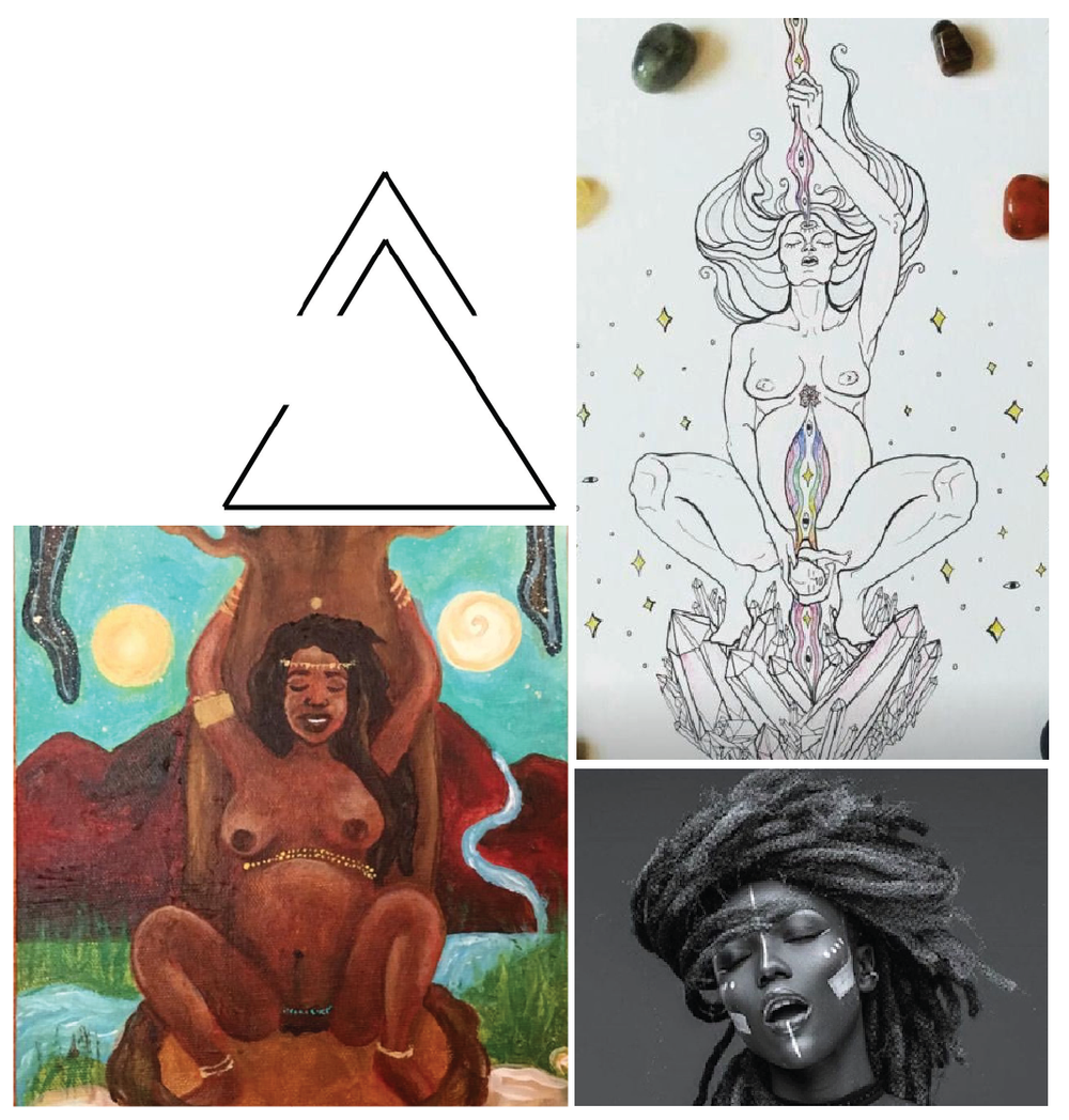 top left: the open delta signifying change and growth; top right: artwork I found on pinterest and I can't figure out who the original artist is who inspired the position; bottom left: artwork by  honey_of_myrrh who inspired the jewelry and my choice to use a woman with locs; bottom right: image found on google but I'm not sure of the original photographer who inspired the face and hair.