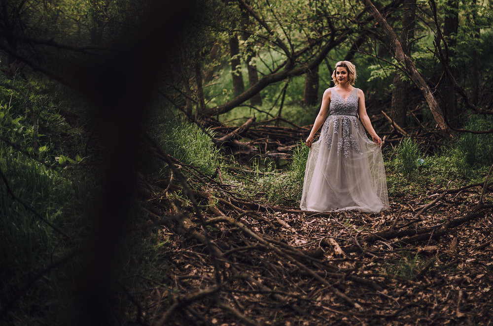Woman posing in woods, Anniversary Session by Stewart Photography