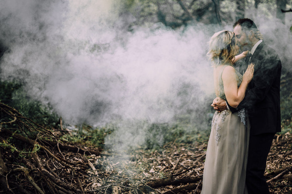 Couple kissing in magical woodland setting, Anniversary Session by Stewart Photography