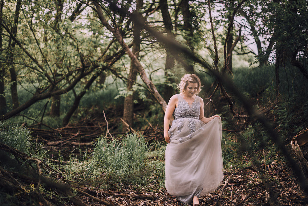 Woman dancing in woods, Anniversary Session by Stewart Photography