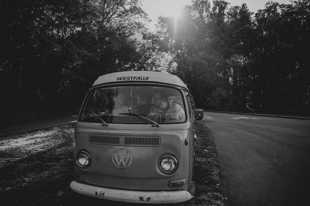 Black and white photo of VW bus, engagement session with Tessa Blackstone