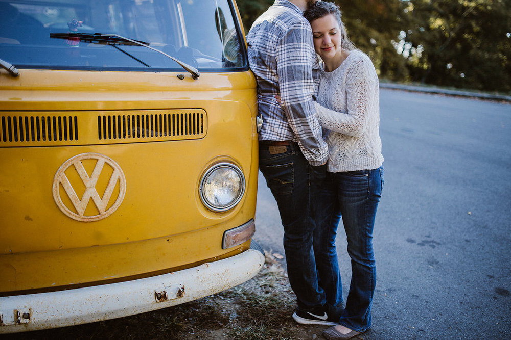 Couple with their VW bus, Asheville, NC, engagement session with Tessa Blackstone