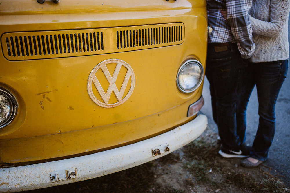 Yellow VW bus, engagement session with Tessa Blackstone