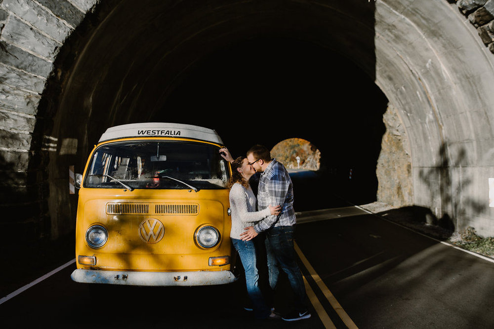 Couple kissing, Asheville, NC engagement session with Tessa Blackstone